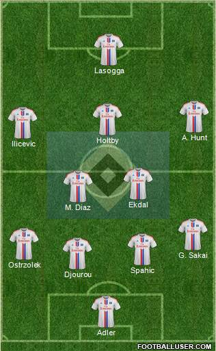 Hamburger SV 4-1-3-2 football formation