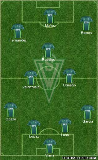 CD Santiago Wanderers S.A.D.P. 3-5-1-1 football formation