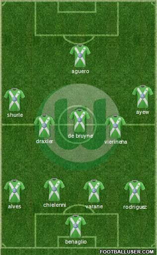 VfL Wolfsburg 4-5-1 football formation