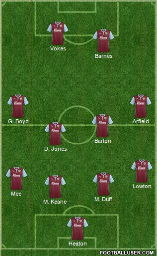Burnley 3-5-1-1 football formation