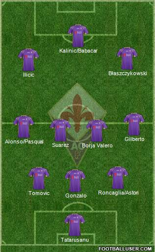 Fiorentina 3-5-1-1 football formation