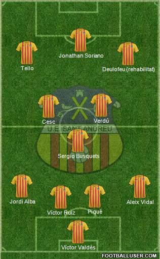 U.E. Sant Andreu 4-2-3-1 football formation