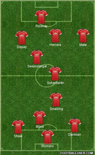 Manchester United 4-4-1-1 football formation