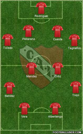 Independiente 3-5-2 football formation