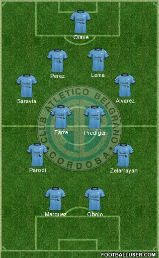Belgrano de Córdoba 4-4-2 football formation
