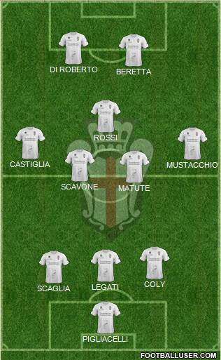 Pro Vercelli 3-4-1-2 football formation