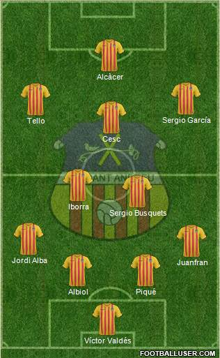 U.E. Sant Andreu 4-2-1-3 football formation