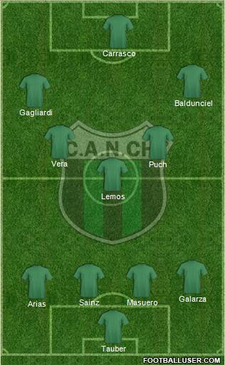 Nueva Chicago 4-3-2-1 football formation