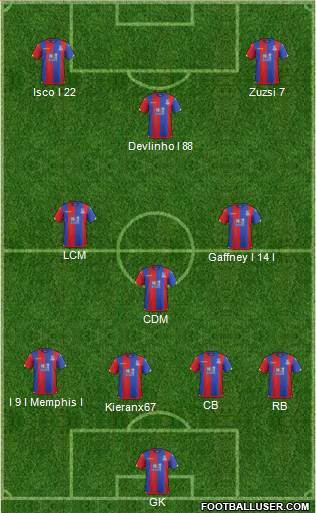 Crystal Palace 3-4-3 football formation