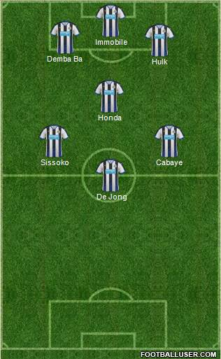 Newcastle United 4-1-3-2 football formation