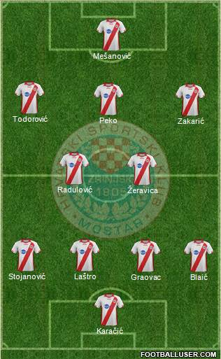 HSK Zrinjski Mostar 4-2-3-1 football formation