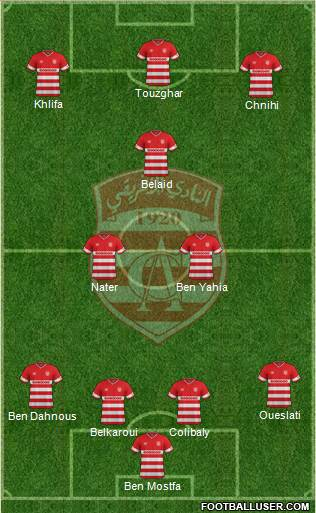 Club Africain Tunis 3-5-1-1 football formation