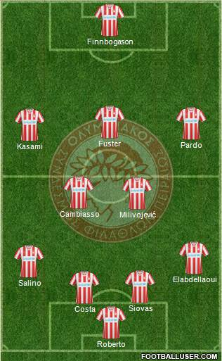 Olympiakos SF Piraeus 4-5-1 football formation