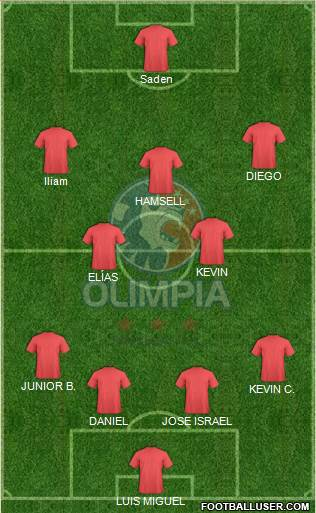 CD Olimpia 4-2-3-1 football formation