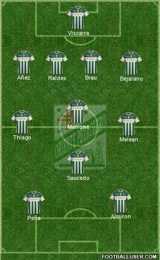 C Oriente Petrolero 4-4-2 football formation