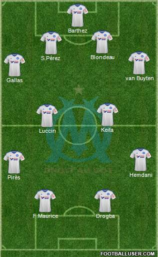 Olympique de Marseille 4-4-2 football formation