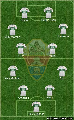 Elche C.F., S.A.D. 4-4-2 football formation