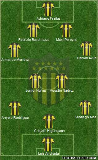 Club Atlético Peñarol 4-4-1-1 football formation