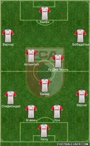 FC Augsburg 4-1-4-1 football formation