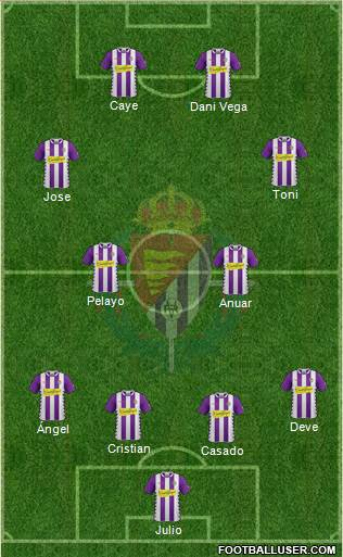 R. Valladolid C.F., S.A.D. 4-4-2 football formation