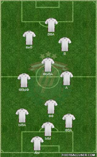 Latvia 4-2-3-1 football formation