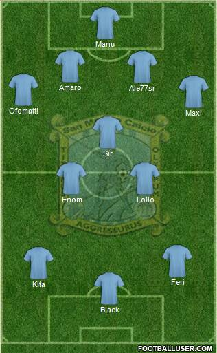 San Marino 4-3-3 football formation