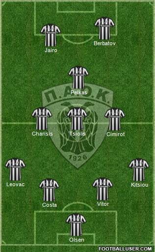 AS PAOK Salonika 4-3-1-2 football formation