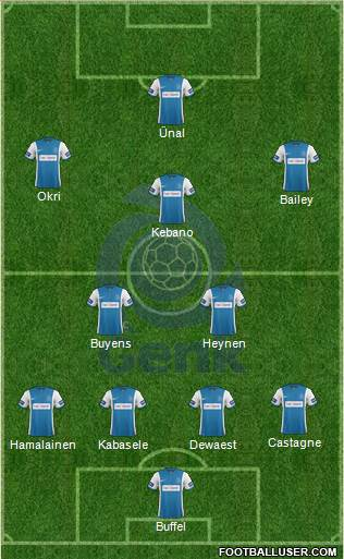 K Racing Club Genk 4-3-2-1 football formation