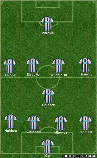 Newcastle United 4-1-4-1 football formation