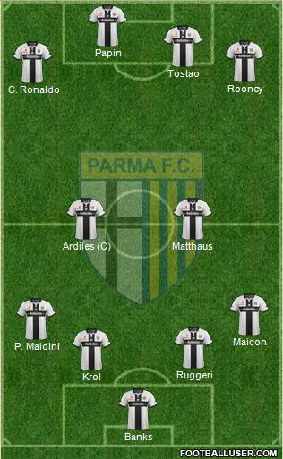 Parma 4-2-4 football formation