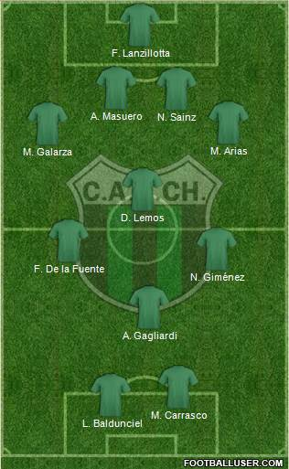 Nueva Chicago 4-3-1-2 football formation
