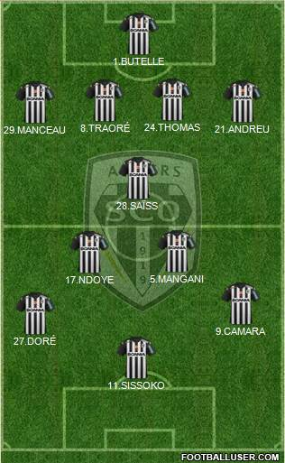 Angers SCO 3-5-1-1 football formation