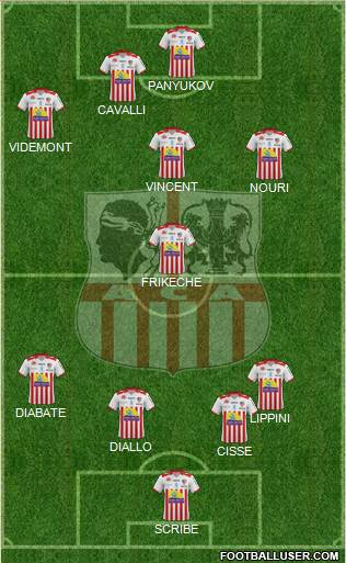 Athletic Club Ajaccien Football 4-5-1 football formation