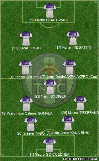 Toulouse Football Club 4-3-2-1 football formation