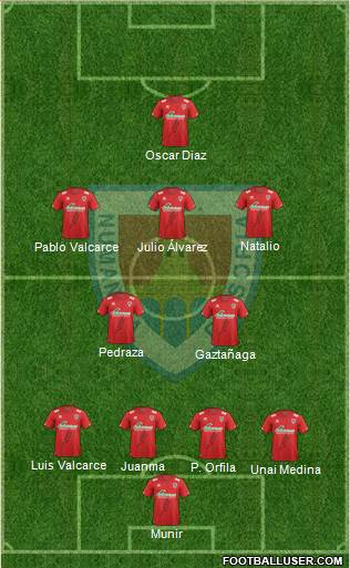 C.D. Numancia S.A.D. 4-2-3-1 football formation