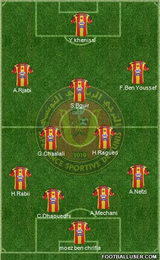 Espérance Sportive de Tunis 4-3-3 football formation
