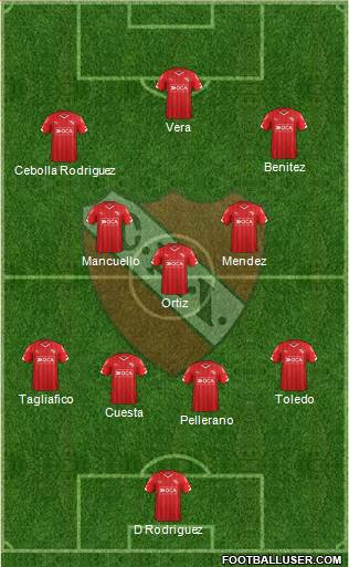 Independiente 4-3-2-1 football formation