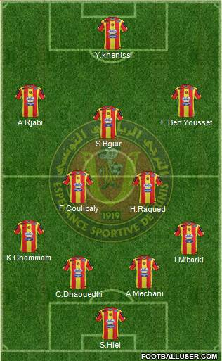 Espérance Sportive de Tunis 4-2-4 football formation