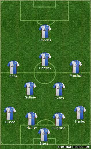 Blackburn Rovers 4-2-3-1 football formation