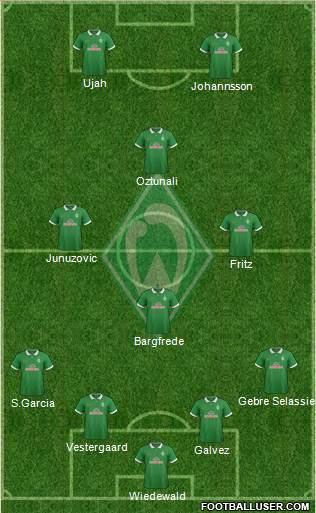 Werder Bremen 4-3-1-2 football formation