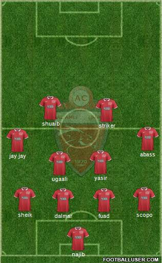 Al-Ahli (UAE) 5-4-1 football formation