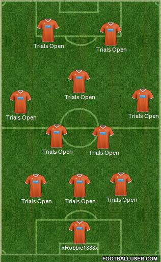 Blackpool 3-5-2 football formation