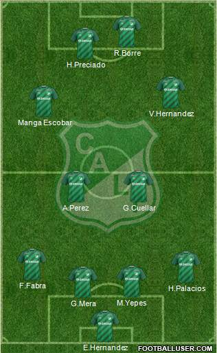 AC Deportivo Cali 4-2-2-2 football formation