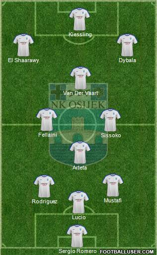 NK Osijek 3-4-2-1 football formation