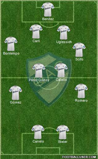 Quilmes 4-4-2 football formation