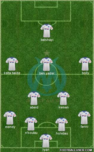 Olympique de Marseille 3-4-2-1 football formation