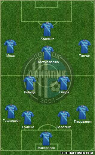 Olimpic Donetsk 4-2-3-1 football formation