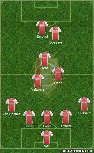R Standard de Liège 5-3-2 football formation