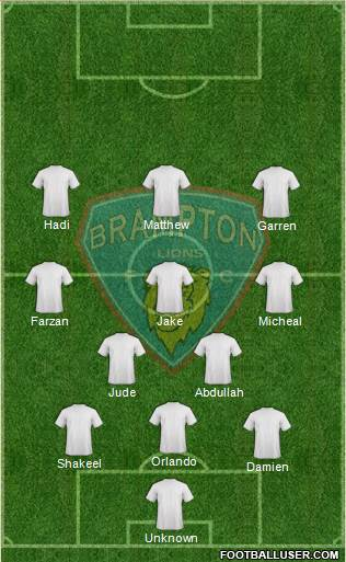 Brampton Lions FC 3-5-1-1 football formation