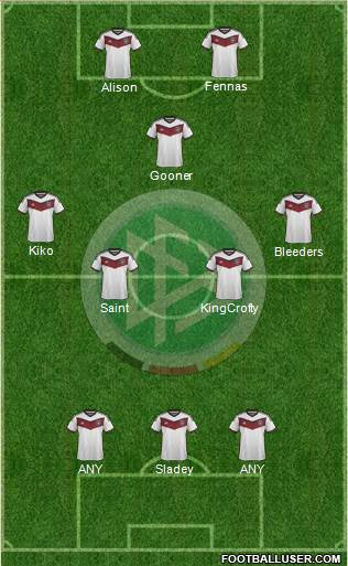 Germany 3-4-1-2 football formation